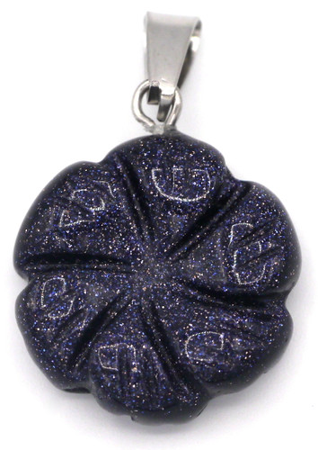 1pc Approx. 20x18mm Blue Goldstone (Man-Made) Carved Flower Pendant
