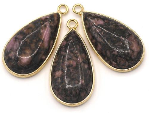 1pc Approx. 33mm Dark Rhodonite Brass-Edged Teardrop Pendant, Gold Finish