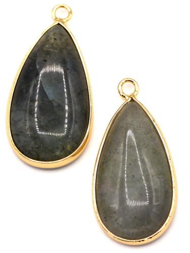 1pc Approx. 33mm Labradorite Brass-Edged Teardrop Pendant, Gold Finish