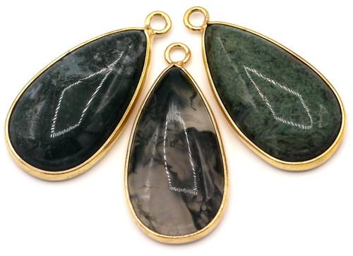 1pc Approx. 33mm Moss Agate Brass-Edged Teardrop Pendant, Gold Finish