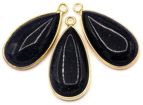 1pc Approx. 33mm Blue Goldstone (Man-Made) Brass-Edged Teardrop Pendant, Gold Finish