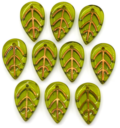 10pc 18x11mm Glass Leaf Charms, Olive/Copper