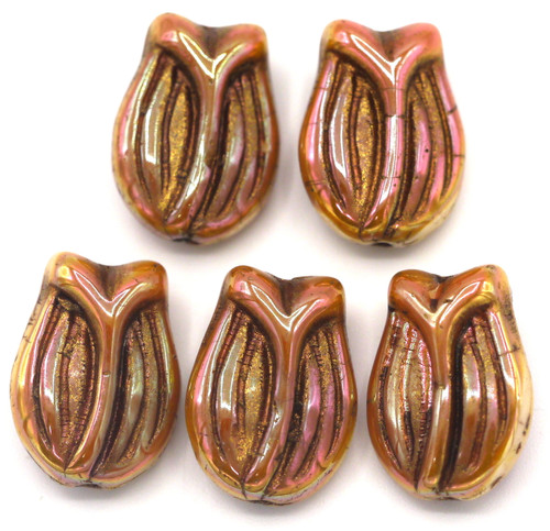 5pc 16x11mm Czech Pressed Glass Tulip Beads, Apricot Luster/Copper Wash