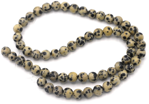 "Approx. 15"" Strand 6mm Round Dalmatian Jasper Beads"