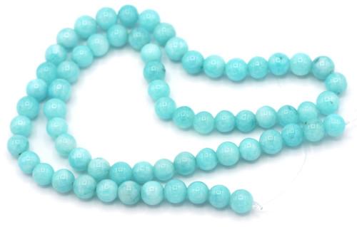 "Approx. 15"" Strand 6mm Round Sky Blue Quartz (Dyed) Beads"