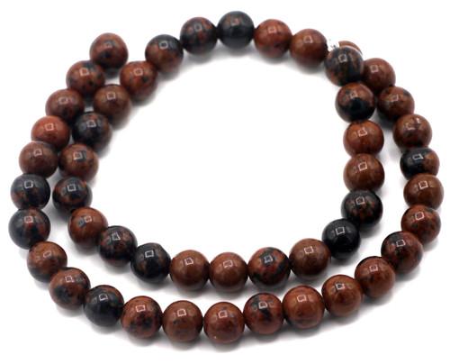 """15"""" Strand 8mm Mahogany Obsidian Round Beads"""