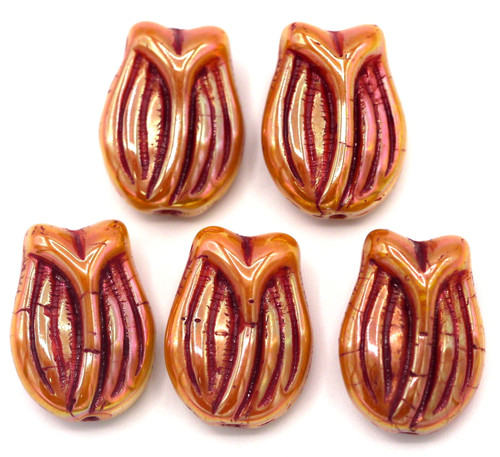 5pc 16x11mm Czech Pressed Glass Tulip Beads, Apricot Luster/Red Wash