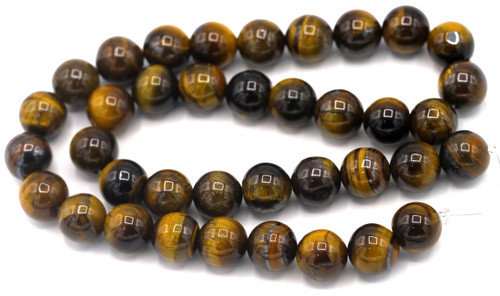 "Approx. 15"" Strand 10mm Tigereye Round Beads"