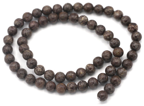 """Approx. 15"""" Strand 6mm Brown Snowflake Obsidian Round Beads"""