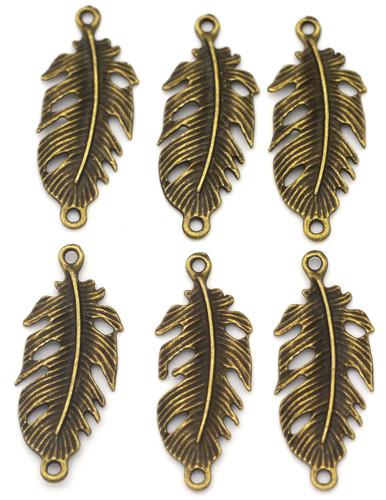 6pc 34x14mm Feather Links, Antique Bronze