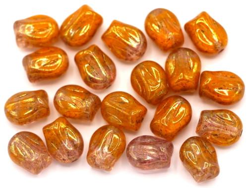 20pc 9x7mm Mini Tulip Beads, Orange/Pink/Metallic Luster