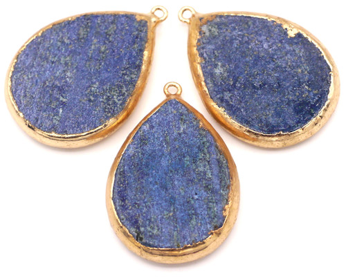 1pc Approx. 46x30mm Lapis Lazuli Teardrop Pendant, Gold Finish