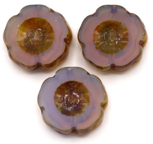 3pc 14mm Czech Table-Cut Glass Hawaiian Flower Beads, Lilac Opal/Picasso Luster