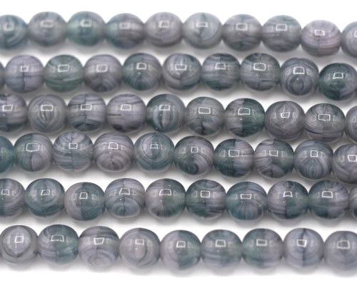 20pc Strand 6mm Czech Druk Round Beads, Lavender/Slate Gray