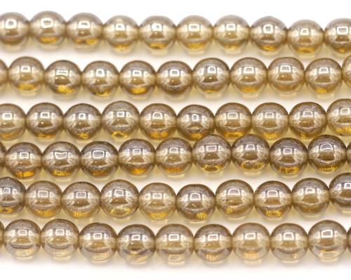 20pc Strand 6mm Czech Druk Round Beads, Smokey Topaz Shimmer