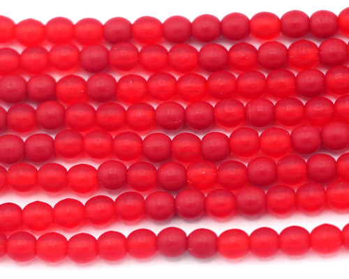 30pc 4mm Czech Pressed Glass Druk Round Beads, Mixed Frosted Reds