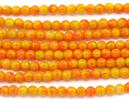 30pc 4mm Czech Pressed Glass Druk Round Beads, Yellow/Red Swirl