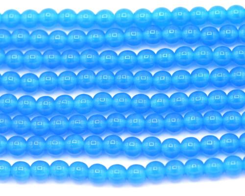30pc 4mm Czech Pressed Glass Druk Round Beads, Cerulean
