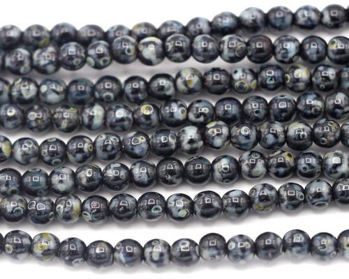 30pc 4mm Czech Pressed Glass Druk Round Beads, Jet/Picasso
