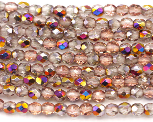30pc Strand 4mm Czech Fire Polished Glass Round Beads, Crystal/Apricot Iris