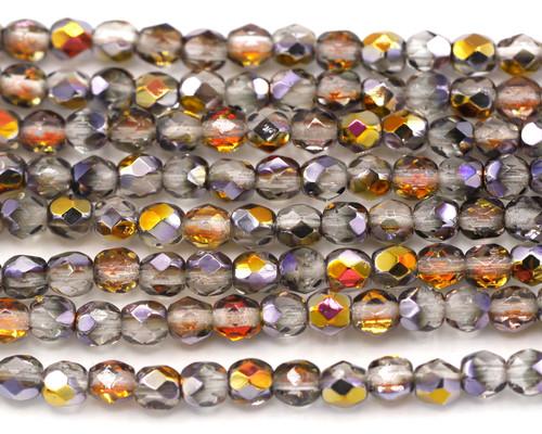 30pc Strand 4mm Czech Fire Polished Glass Round Beads, Crystal/Vitrail
