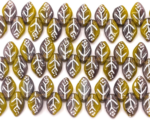 24pc Strand 12x7mm Top-Drilled Czech Pressed Glass Leaf Beads, Brown/Yellow Ochre/Silver Wash