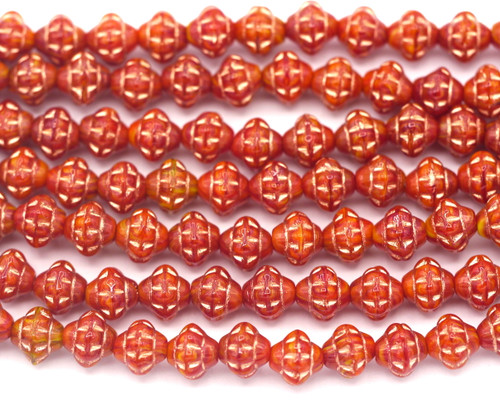 20pc 6mm Czech Pressed Glass Spacer Beads, Red-Yellow Swirl/Copper Wash