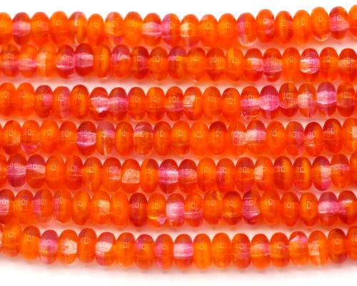 50pc 4mm Czech Pressed Glass Disc Rondelle Beads, Summer Heat Mix