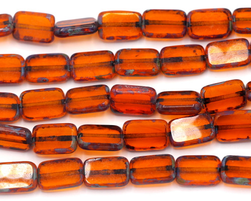 10pc 12x8mm Czech Table-Cut Glass Rectangle Window Beads, Topaz/Vintage Luster