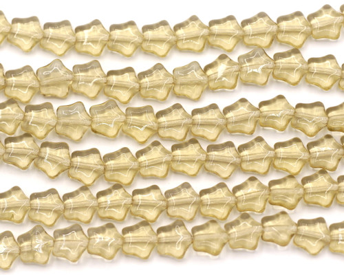 16pc 8mm Czech Pressed Glass Star Beads, Smoky Light Topaz