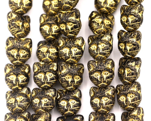 10pc 11mm Czech Pressed Glass Cat Face Beads, Jet Black/Gold Wash