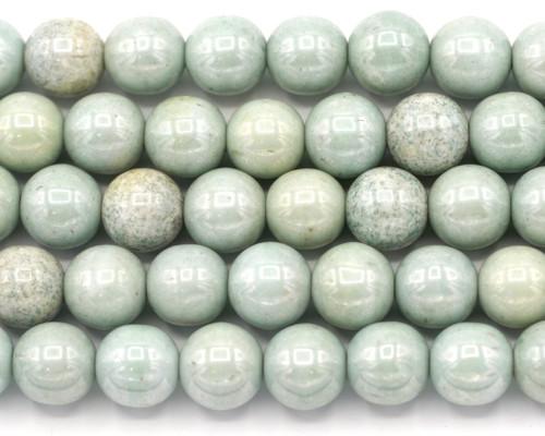 12pc 10mm Czech Pressed Glass Druk Round Beads, Alabaster/Mint Luster Mix