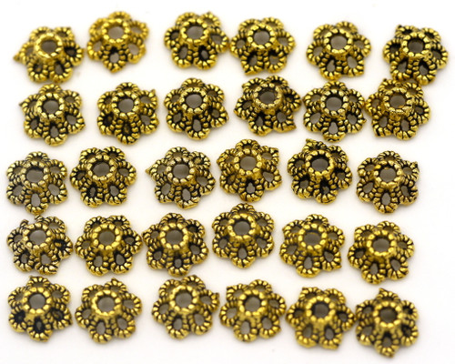CLEARANCE-- 30pc 6mm Bead Cap, Antique Gold (PLEASE READ)