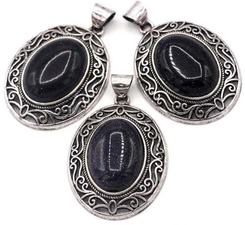 1pc Approx. 45mm Blue Goldstone (Manmade) Oval Pendant, Antique Silver