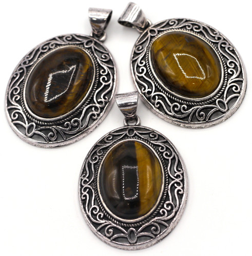 1pc Approx. 45mm Tigereye Oval Pendant, Antique Silver