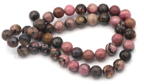 "Approx. 15"" Strand 8mm Rhodonite Round Beads"