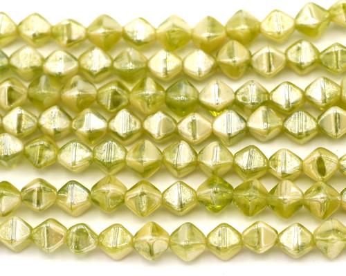 19pc 6mm Czech Pressed Glass Bicone Beads, Peridot/White/Luster