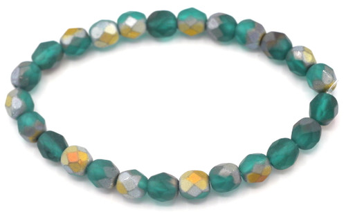 25pc 6mm Czech Fire-Polished Faceted Round Beads, Matte Teal/Matte AB