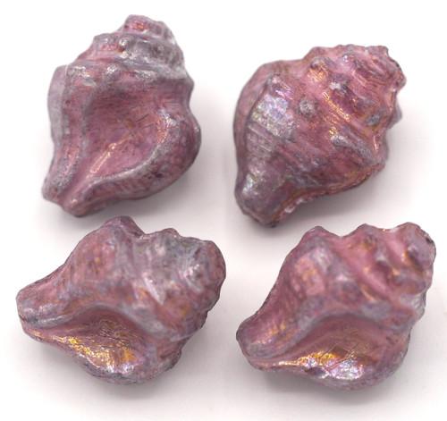 4pc 15x12mm Czech Pressed Glass Conch Shell Beads, Alabaster/Nebula Violet