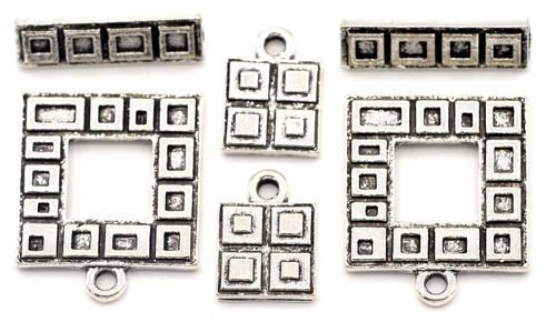 2 Sets 23x18mm Rectangle Toggle Clasps & 13x9mm Charms, Antique Silver