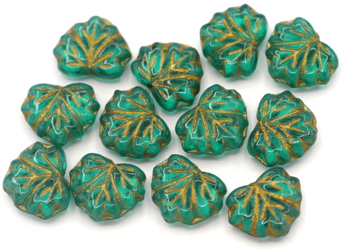 12pc 13x11mm Czech Pressed Glass Maple Leaf Beads, Emerald/Gold Wash