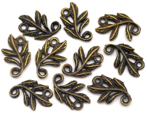 CLEARANCE-- 10pc 15x10x2mm Swirled Leaf Links, Antique Bronze (Please Read)