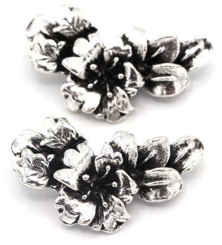 2pc 30x16mm Hibiscus Flower 2-Loop Focal Link, Antique Silver