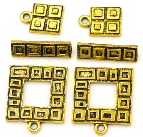 2 Sets 23x18mm Rectangle Toggle Clasps & 13x9mm Charms, Antique Gold