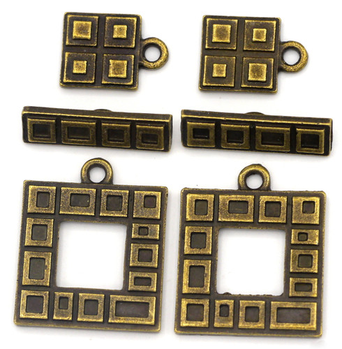 2 Sets 23x18mm Rectangle Toggle Clasps & 13x9mm Charms, Antique Bronze