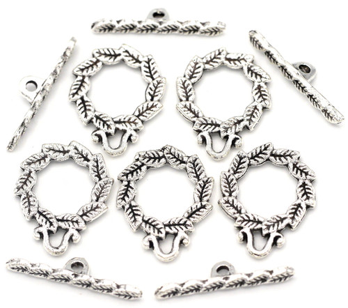 5 Sets 16x21mm Leaf Wreath Toggle Clasp, Antique Silver