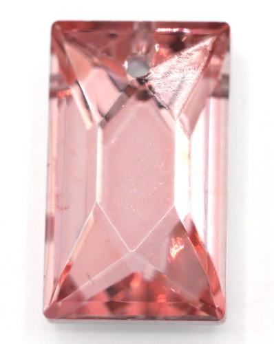 20x10mm Cut Glass Crystal Rectangle Pendant, Foil-Backed Rosaline