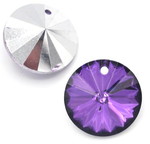 18mm Cut Glass Crystal Rivioli Pendant, Foil-Backed Vivid Violet