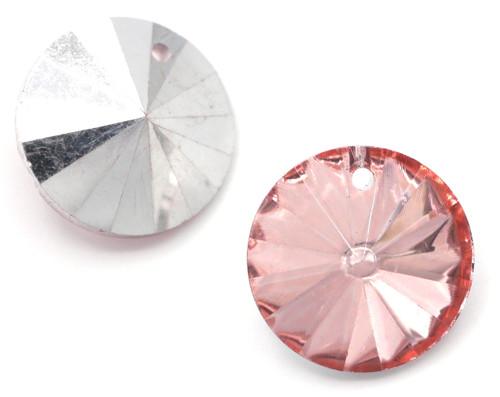 18mm Cut Glass Crystal Rivioli Pendant, Foil-Backed Rosaline
