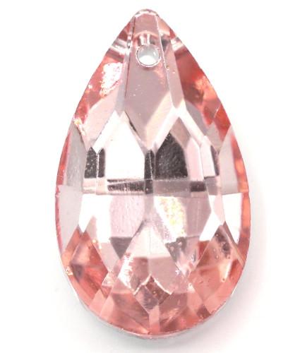 30mm Cut Glass Crystal Teardrop Pendant, Foil-Backed Rosaline